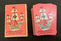 Vintage Whitman Pink Boat Miniature Playing Cards With Box