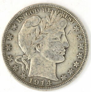 1914 S Barber Half Dollar US 90% Silver 50 Cent Coin San Francisco United States