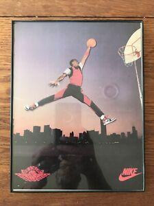 1985 Michael Jordan Original NIKE JUMPMAN Poster Ad Framed