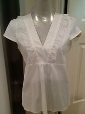 Women's THEORY Mabry white semi-sheer v-neck ruffle blouse NWT M $190