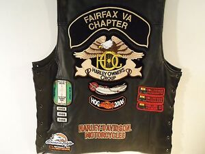 Genuine Harley Davidson Leather Vest With Patches Size Large (Must See)