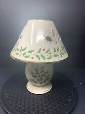 LENOX Holiday Christmas Candle Lamp ~ Tealight Holly And Berries With Shade NEW