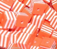 100pcs cube orange and white striped resin beads 8mm by 1st class