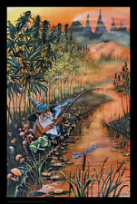 Gnome Fishin' Blacklight Poster Print by Mike DuBois, 23x36