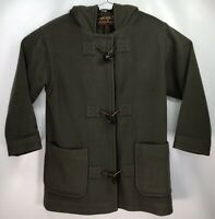 Women's PETITE SMALL - USA Made Eddie Bauer 100% Wool Toggle Peacoat Hooded Long
