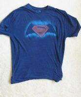 Batman vs Superman Dawn of Justice T-Shirt, Adult L, Dark Blue w/Logo