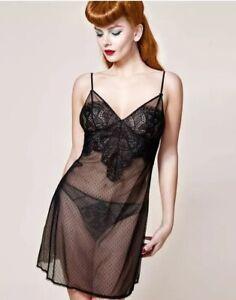 Dita Von Teese - Maestra Chemise/ Shift - Size M - Black Lace Tan Lining