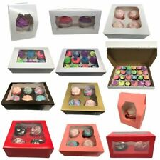 Windowed Cupcake Boxes for 1, 2, 4, 6, 12 & 24 Cup Cakes - ANY COLOUR ANY AMOUNT