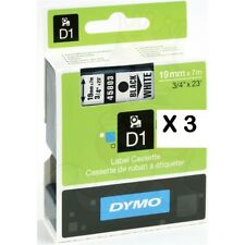 3 x 19mm DYMO D1 compatible Series 45803 black on white label Tape S0722550