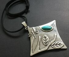 long suede statement necklace with a Silver Dragonfly And turquoise pendant