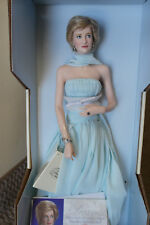 "Franklin Mint Princess Diana Doll ELEGANCE Turquoise Gown Porcelain 17"" COA"