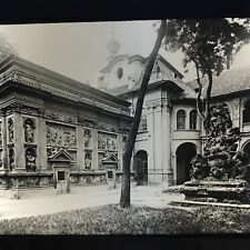 Vtg Magic Lantern Glass Slide Photo Praka - Prague Temple Grounds