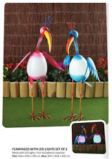 Metal Flamingo BLUE with LED Lights Home Garden Statue Ornament Lawn Decor