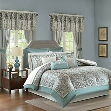 Madison Park Cal King 24 Piece Bed in a Bag in Teal Finish Mpe10-638