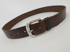 Fossil Leather Belt Rhinestone Bling BT3422202 Distressed Brown Small 32