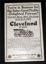 1907 OLD MAGAZINE PRINT AD, CLEVELAND TOURING CAR FOR BIG SALES--GOOD PROFITS!