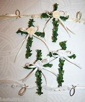 5 x Minikreuz Buchsbaum Kreuz Kommunion Konfirmation Taufe Tischdeko creme/weiß