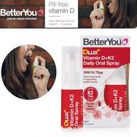 BetterYou Dlux + Vitamin D + K2 Daily Oral Spray For Bones Immune - 12mL