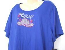 NWT Erika Women's Shirt Plus Size 2X Royal Blue Rodeo Rhinestones Bling