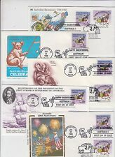 Stamps 1988 Australia USA joint issue group 5 covers silk, Captain Cook Koalas