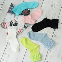 Soft Spring Summer Sock Lace Ruffle Frilly Ankle Sock Ladies Solid Cotton Socks