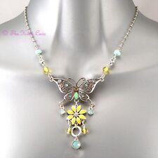 Flower Necklace w/ Swarovski Crystals Yellow Mint Enamel Shabby Chic Butterfly