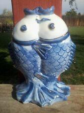 Vintage KOI FISH Kissing Pisces Vase Figure Blue White porcelain Made in China