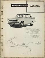 AUSTIN A55 CAMBRIDGE Mk II GIRLING 1959 Maintenance Installation Data Guide