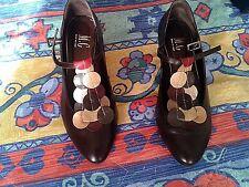 Scarpe pelle numero 39 testa di moro decorazione e cinturino-Shoes-Chaussures