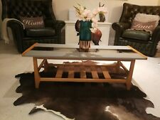 VINTAGE MID CENTURY LONG TEAK COFFEE TABLE WITH MAGAZINE SHELF AND SMOKE GLASS