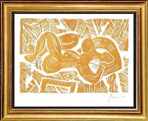 """Pablo Picasso Hand Signed Ltd Ed Print """"Reclining Golden Nude"""" w/COA unframed"""