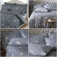 LUXURY GREY DUVET COVER SET BIRD FLORAL PRINTED 250 THREAD COUNT BEDDING SETS