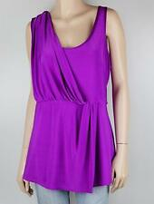 CITY CHIC Purple Draped Peplum Waist Stretch Knit Top Sz 14 - XS    #2490
