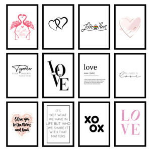 Love Quote Wall Art Prints Bedroom Inspirational - Unframed