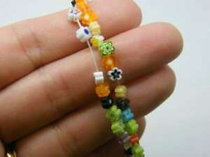 88 Millefiori beads flat flower random mixed 4mm glass B261