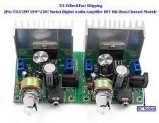 2Pcs TDA7297 15W*2 DC Socket Digital Audio Amplifier DIY Kit Dual-Channel Modul