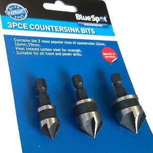 Countersink Bits 3pce set Countersink Drill Bits Countersinking wood 12 16 19mm