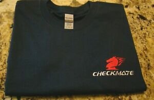 Checkmate Knight Boat Logo Navy w/White & Red Size Large T-Shirt New Embroidered