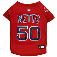 MOOKIE BETTS #50 Boston Red Sox MLBPA Officially Licensed Red Dog Pet Tee Shirt
