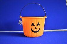 NEW Halloween Pumpkin Trick or Treat Sweet Candy Bucket - Orange Plastic Bucket