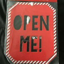 "Huge Jumbo Christmas Gift Tag Xmas Present Tag 10"" x 8"" Open Me Red white"