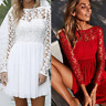 Womens Lace Party Cocktail Mini Dress Ladies Summer Long Sleeve Skater Dresses