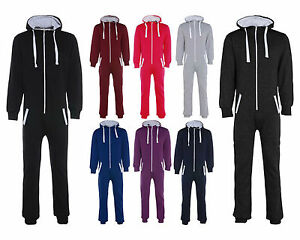 MENS WOMENS UNISEX PLAIN ZIP WARM COSY ALL IN ONE JUMPSUIT
