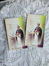 "NEW ""ST. THOMAS AQUINAS"" LAMINATED Gold Imprinted  PRAYER Folder, TWO 4 ONE!"