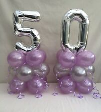50TH birthday balloon kit,lilac and silver table centre display, 50TH cluster