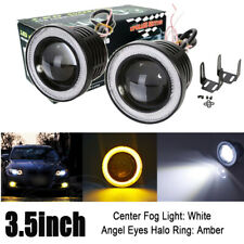 2x 3.5inch Round LED Driving Projector Fog Light with Amber Angel Eyes Halo Ring