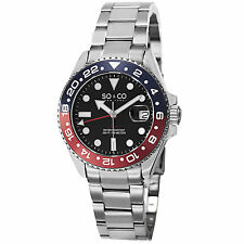 SO & CO Men's 5021.2 Yacht Club Casual Quartz Watch Stainless Black Red Date