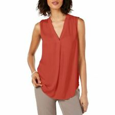 ALFANI NEW Women's Washed-satin V-neck Blouse Shirt Top TEDO