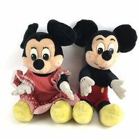 Vintage Mickey And Minnie Mouse Large Plusy Stuffed Toys 55cm Official Disney