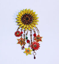 Vintage Lunch At The Ritz Sunflower Brooch, Gold Yellow Flower Pin, Sunflower